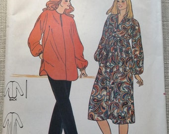 Misses' Maternity Dress or Tunic and Pants in Size 16 Complete Vintage Butterick Sewing Pattern 6621 Fast & Easy