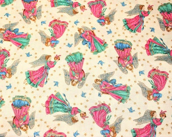 Vintage ANGELS Fabric From Cranston Print Works Co - 1 YARD