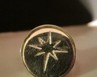 Star Of Bethlehem Sterling Silver Ring With Hammered Square Wire Shank