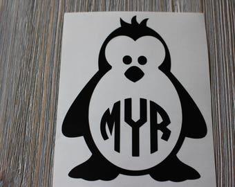 Penguin Monogram  Car Decal - Monogram Penguin Car Decal -  Monogram Car Decal - Monogram Decal - Car Decal - Penguin Decal - Penguin