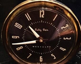 ON SALE - Vintage Westlcox Baby Ben 61-Y 1 Small Alarm Clock Collectible Made in US