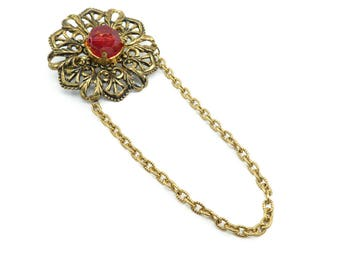 Vintage Filigree Brooch, Dangle Chain, Red Lucite Bead