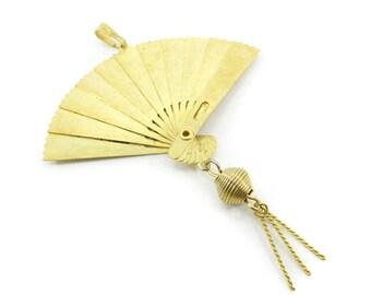 Vintage Asian Fan Pendant, Phoenix