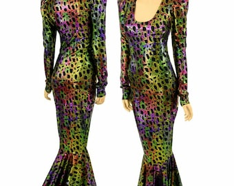 Poisonous Print Metallic Long Sleeve Sharp Shoulder Puddle Train Gown Gorgeous Bombshell Lizard Drag Gown 154435