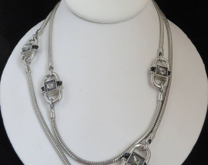 Amethyst Bead Necklace, Long Snake Chain Vintage Silver Tone Necklace
