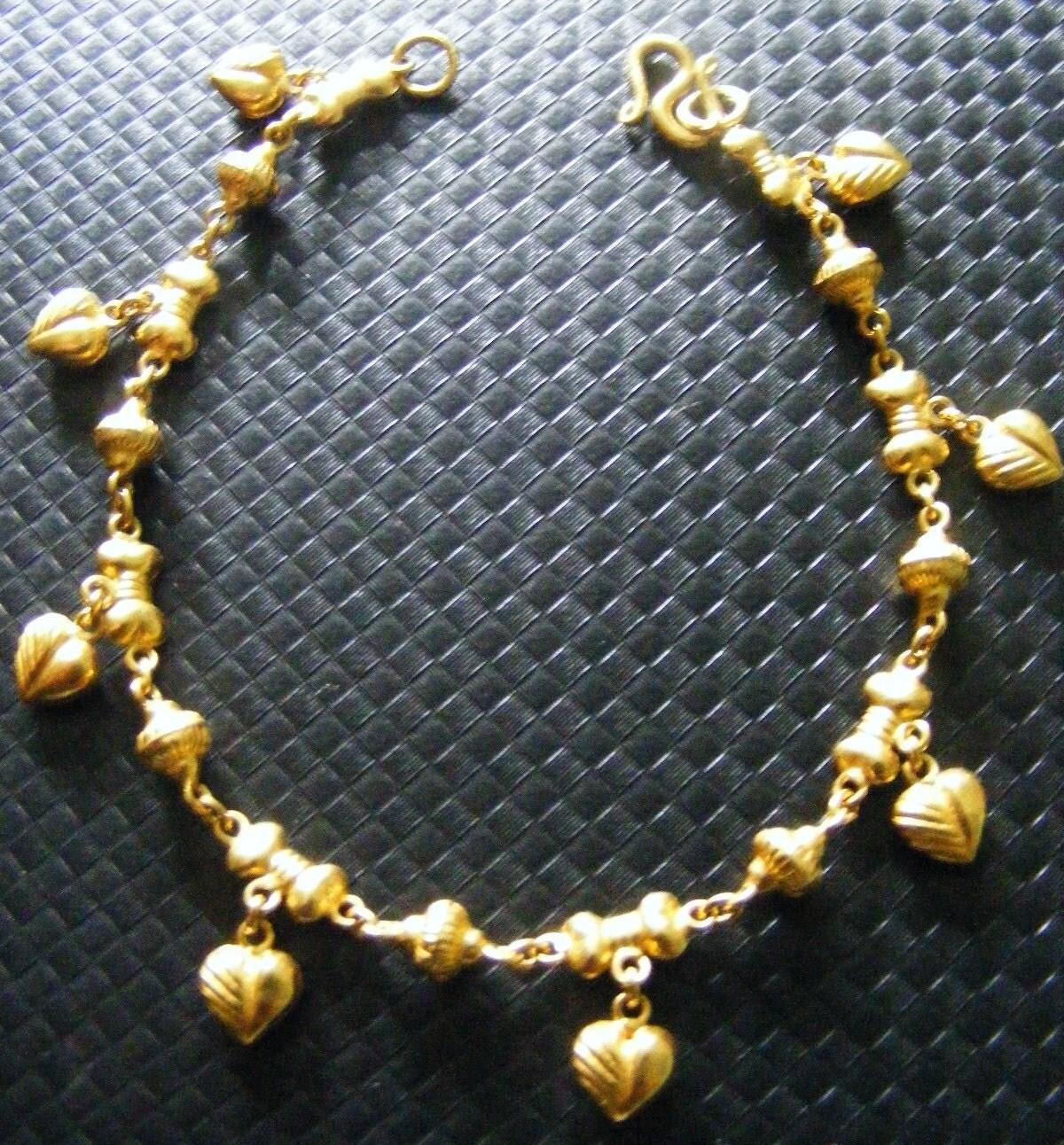 24K Solid Gold Heart Charm Bracelet 24 Karat 999 Pure Gold