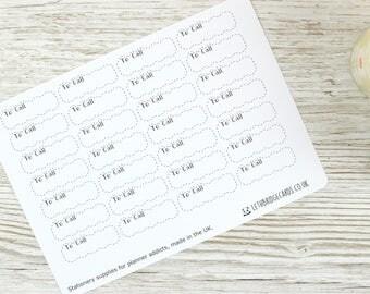 To Call Dashed Scalloped Quarter Box Planner Stickers; Vinyl Matt Stickers; Erin Condren Sized; Happy Planner; Filofax; Kikki K