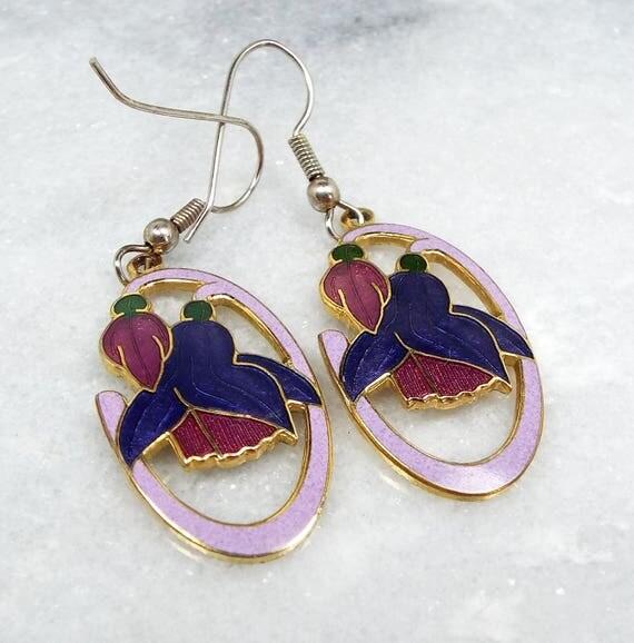 Vintage / Gold Tone Purple Flowers Cloisonne Enamel Hook Drop Dangle Earrings