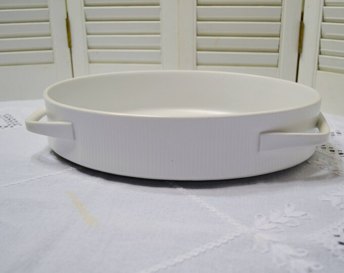 Vintage Thomas Flammfest Oval Casserole with Handles White Ribbed Germany Mid Century MCM Ovenware Cookware Panchosporch