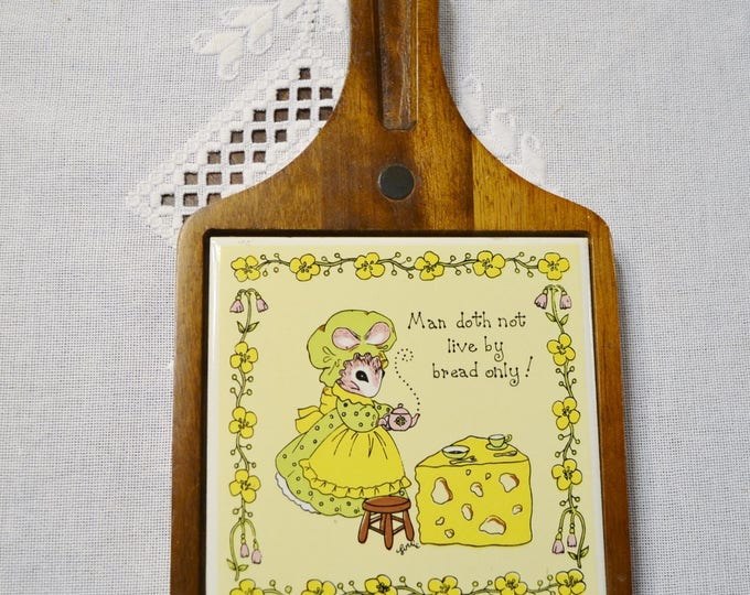 Vintage Cheese Board Mouse Ceramic Tile Man Doth Not Live by Bread Only George Good Corp PanchosPorch