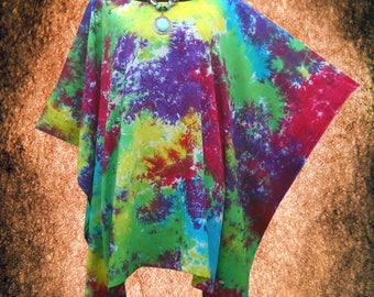 Tropical Retro Pastel Hand dyed Beach Cover Up Poncho Top