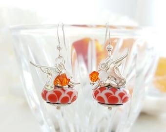 Austin Earrings - Orange and White Earrings - Orange Crystal Earrings - Longhorn Jewelry - Lampwork Glass Earrings - Texas Spirit Gift E1130