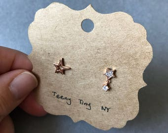 Rose Gold Star and CZ Stars Stud Earrings - Rose Gold Plated over Sterling Silver
