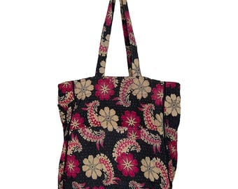 KANTHA Bag - Carry size - Fuschia and Beige on Black