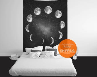 Phases of the moon tapestry, celestial wall hanging, boho dorm, interior home decor, apartment