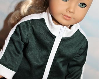 18 Inch Doll (like American Girl) Eagles Color Dark Green and White Side Stripe Sporty Zip Front Track Suit
