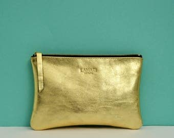 Leather Cosmetic Pouch JUNE BIG Gold