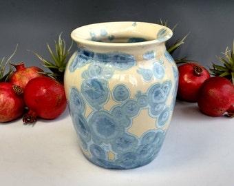 "Ceramic Vase, Crystalline Glaze Pottery, Handmade Gift, Light Baby Blue Bedroom Bathroom Kitchen Decor, Wheel Thrown, 6"" tall"
