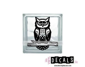 Owl (with branch) - Animal and Pet Vinyl Lettering for Glass Blocks - Wildlife Craft Decals