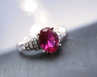 Ruby Ring, July Birthstone Ruby Jewelry, Sterling Silver Lab Ruby CZ Solitaire Anniversary Ring