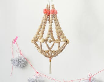 Wooden beads chandelier on criss cross supporter, nursery mobile, nursery decor,pajaki inspired,hanging decor