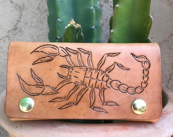 Scorpion Wallet, Leather Wallet, Raw Leather Wallet, Biker Wallet, Snap Wallet, Leather Billfold, Mens Accessories, Women's Accessories