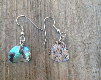 Beautiful abalone shell dangle earrings/ beach earrings/ tropical earnings
