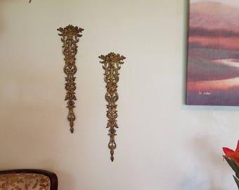Vintage Brass Ornate DETACHED Decor Tapered Panels Set of 2
