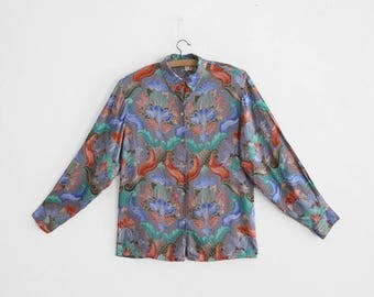 Vintage Blouse - 100% Rayon - Paisley/Psyche Print - Made in France