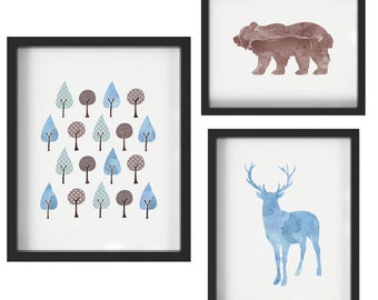 Forest Nursery Theme/set of 3/prints/woodland nursery/rustic nursery/forest decor nursery/boy nursery wall art/woodland creatures/watercolor