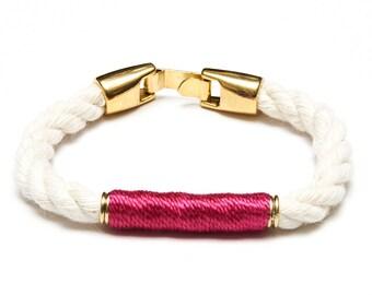 Nautical Rope Bracelet / Ivory Rope Bracelet / Gold Nautical Bracelet / Nautical Jewelry / Nautical Gift / Pink Rope Bracelet