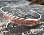 I AM ENOUGH: Hand Stamped Two-Tone Metal Cuff Bracelet, Copper & Aluminum