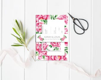 Peonies Wedding belly-band - Wedding Belly-Band for invitations - Floral Belly-Band - Flowers Belly-Band - Peonies Wedding Invitation