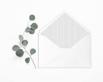 Classical Stripes Envelope Liner - Black and White - Wedding Liner Envelope - Wedding Envelope - Envelope Liner - Minimalist Envelope Liner