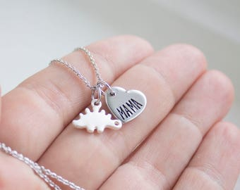Mama Stegosaurus Jewelry - Silver Dinosaur Necklace - Gift for Mom - Dinosaur Mother - Mom and Baby Dino - Gift for Mother's Day Necklace