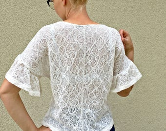 White crochet lace blouse summer ivory frill ruffle sleeve top M