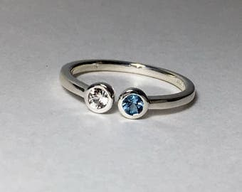 Dual Stone Ring Aquamarine Sapphire sterling silver Size 6