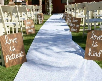 Wedding Aisle Signs, Set of 10, Corinthians 13 Signs, Love is Patient/Love is kind/Love never fails, Wooden Wedding Ceremony signs