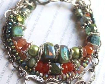 bracelet, carnelian bracelet, vesuvianite bracelet, sunstone bracelet, green bracelet, bohemian bracelet, boho chic bracelet, for her