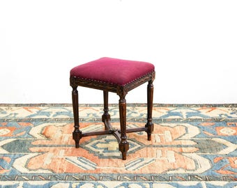 French Carved Cross Stretcher Stool
