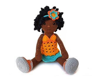 Crochet pattern doll Isabel - girl with removeble top, skirt and shoes and movable joints - amigurumi - instant download pdf