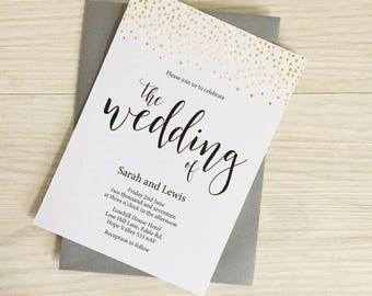 Gold wedding invitation - Gold confetti wedding invitation - Gold and grey wedding invitation