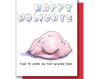 Happy Holidays Winter Bod Blobfish Christmas Card