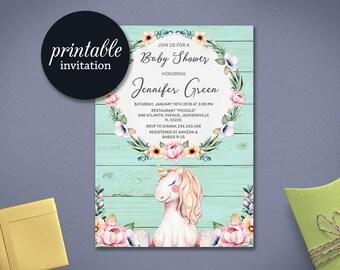 Floral Baby shower Invitation Unicorn baby shower invitation Girl baby shower invitation printable Rustic Baby shower Invitation Pink Aqua
