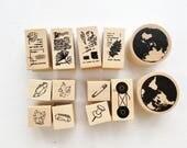 Rubber Stamp Set // Vintage Rubber Stamp Pack // Scrapbook Embellishment DIY