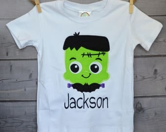 Personalized Halloween Frankenstein Applique Shirt or Onesie for Boy or Girl