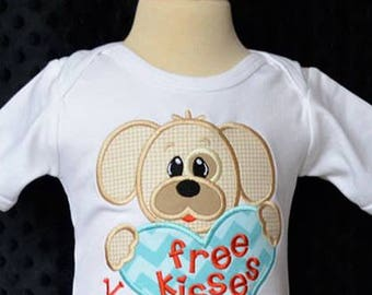 Personalized Valentine Puppy with Heart Free Kisses Applique Shirt or Onesie Girl or Boy