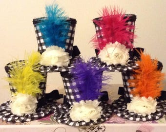 """Alice in Wonderland Decorations - 5 Whimsical Black & White Checkered Mad Hatter Tea Party Hats, Props, Fascinators Birthday (4.5"""" Tall)"""