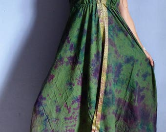 Long ethnic dress green checked tye die, golden trim Halter