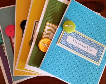 Thinking of You Card Set; Gorgeous Handmade Greeting Cards; Colorful Embossed Cards; Fun Colors